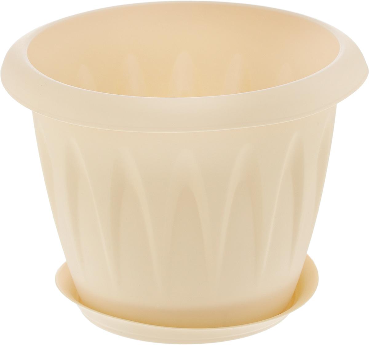 """Кашпо Idea """"Алиция"""" изготовлено из прочного полипропилена (пластика) и предназначено для выращивания растений, цветов и трав в домашних условиях. Круглый поддон обеспечивает сток воды. Такое кашпо порадует вас функциональностью, а благодаря лаконичному дизайну впишется в любой интерьер помещения.  Диаметр кашпо по верхнему краю: 14 см.  Высота кашпо: 11 см.  Диаметр поддона: 12 см.  Объем кашпо: 1 л."""