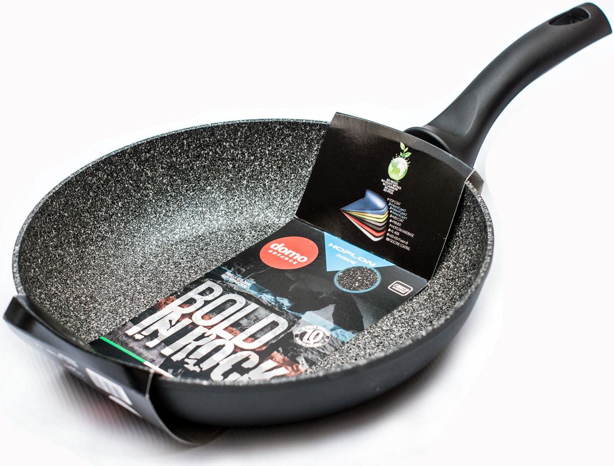 """Сковорода Domo """"Bold in Rock"""" выполнена из высококачественного литого алюминия с антипригарным покрытием. Оно позволяет готовить с минимальным добавлением масла. Капсулированное дно предотвращает деформацию и позволяет использовать сковороду на индукционных плитах. Изделие оснащено эргономичной пластиковой ручкой, которая почти не нагревается.Подходит для всех типов плит, включая индукционные. Можно мыть в посудомоечной машине.Диаметр по верхнему краю: 20 см.Высота стенки: 4,5 см.Длина ручки: 15 см.Диаметр индукционного диска: 14,5 см."""