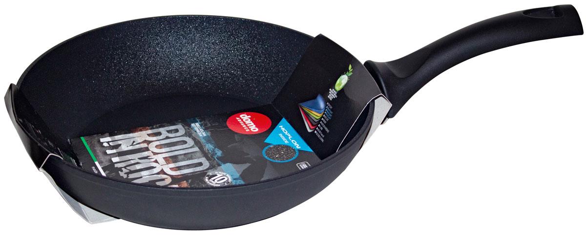 """Сковорода Domo """"Bold in Rock"""" выполнена из высококачественного литого алюминия с антипригарным покрытием. Оно позволяет готовить с минимальным добавлением масла. Капсулированное дно предотвращает деформацию и позволяет использовать сковороду на индукционных плитах. Изделие оснащено эргономичной пластиковой ручкой, которая почти не нагревается.Подходит для всех типов плит, включая индукционные. Можно мыть в посудомоечной машине.Диаметр по верхнему краю: 28 см.Высота стенки: 5,5 см.Длина ручки: 17,5 см.Диаметр индукционного диска: 21,5 см."""