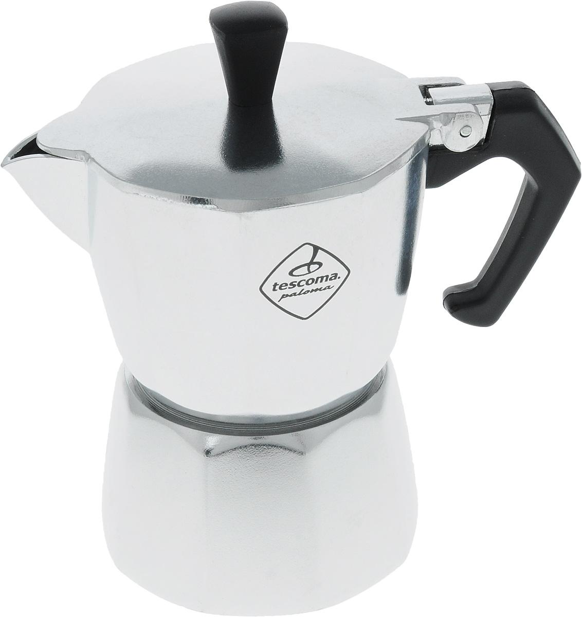 Кофеварка Tescoma Paloma, на 2 чашки647002Кофеварка Tescoma Paloma идеально подходит для приготовления традиционного кофеэкспрессо. Кофеварка изготовлена из гигиенически безопасного алюминия (EN 601).Эргономичная рукоятка выполнена из жароупорной пластмассы, поэтому не обжигает руки. Кофеварка очень проста в использовании:- наполните основание водой,- насыпьте туда кофе,- закройте,- поставьте на плиту,- сварите кофе,- подавайте на стол.Объем рассчитан на приготовление двух чашек кофе.Стильный дизайн кофеварки Tescoma сделает ее ярким элементом интерьера вашего дома! Можно использовать на газовых, электрических, керамических плитах. Нельзя мыть впосудомоечной машине.