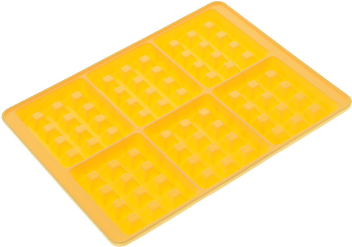 Форма для выпечки вафель Tescoma Delicia Silicone, 6 ячеек629342Форма для выпечки вафель Tescoma Delicia Silicone будет отличным выбором для всех любителей выпечки. Благодаря тому, что форма изготовлена из высококачественного силикона, готовую выпечку вынимать легко и просто.Изделие выполнено вформе прямоугольника, внутри которого расположены 6 ячеек в форме вафель.С такой формой вы всегда сможете порадовать своих близких оригинальной выпечкой.Материал изделия устойчив к фруктовым кислотам, может быть использован в духовках, микроволновых печах, холодильниках и морозильных камерах (выдерживает температуру от -40°C до 230°C).Присутствует инструкция с рецептами внутри упаковки.Можно мыть и сушить в посудомоечной машине. При работе с формой используйте кухонный инструмент из силикона - кисти,лопатки, скребки. Не разрезайте выпечку прямо в форме.Общий размер формы: 27 х 21,2 х 1,7 см.Размер ячейки (по верхнему краю): 7,8 х 10 см.Глубина ячейки: 1,5 см.