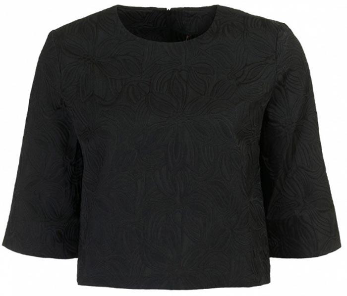 Блузка женская Baon, цвет: черный. B177046_Black Jacquard. Размер L (48)B177046_Black JacquardСтильная блузка Baon выполнена из плотного материала с фактурным узором. Модель свободного кроя с круглым вырезом горловины и рукавами 3/4 на спинке застегивается на застежку-молнию. Укороченная длина блузки позволяет сочетать ее с актуальными брюками и юбками с завышенной линией талии. Лаконичная блузка поможет создать женственный образ.