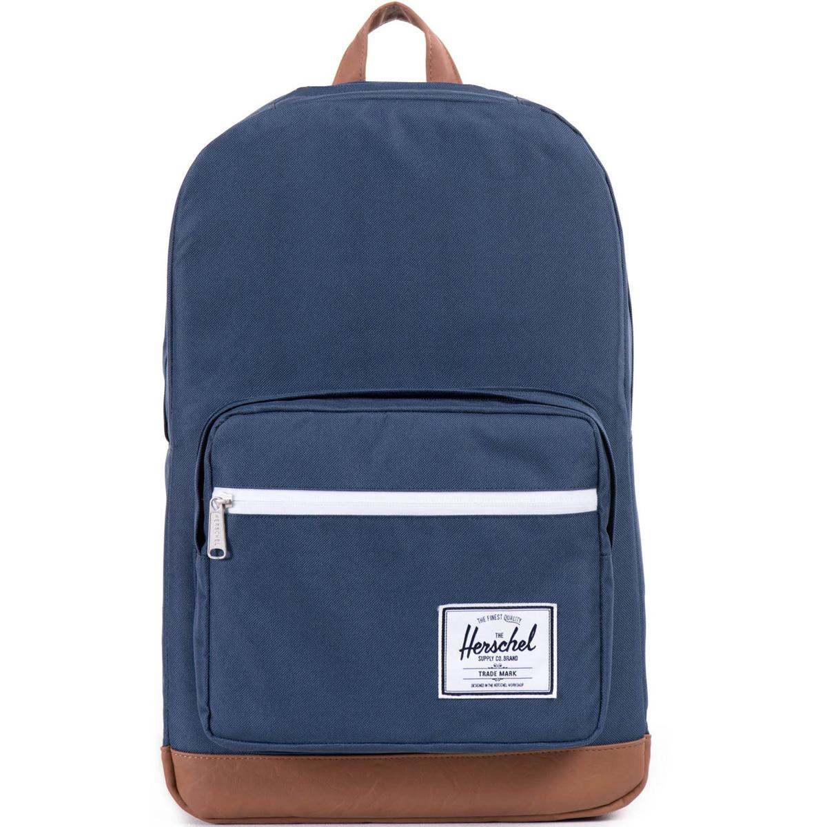 Рюкзак городской Herschel Pop Quiz (A/S), цвет: синий, светло-коричневый. 828432005666828432005666Рюкзак Herschel Pop Quiz универсальный рюкзак для школы и работы с широким спектром карманов и органайзера. Основное отделение закрывается на застежку-молнию. Внешняя сторона дополнена накладным карманом на застежке-молнии. Лямки регулируются, что позволяет менять положение рюкзака на спине.