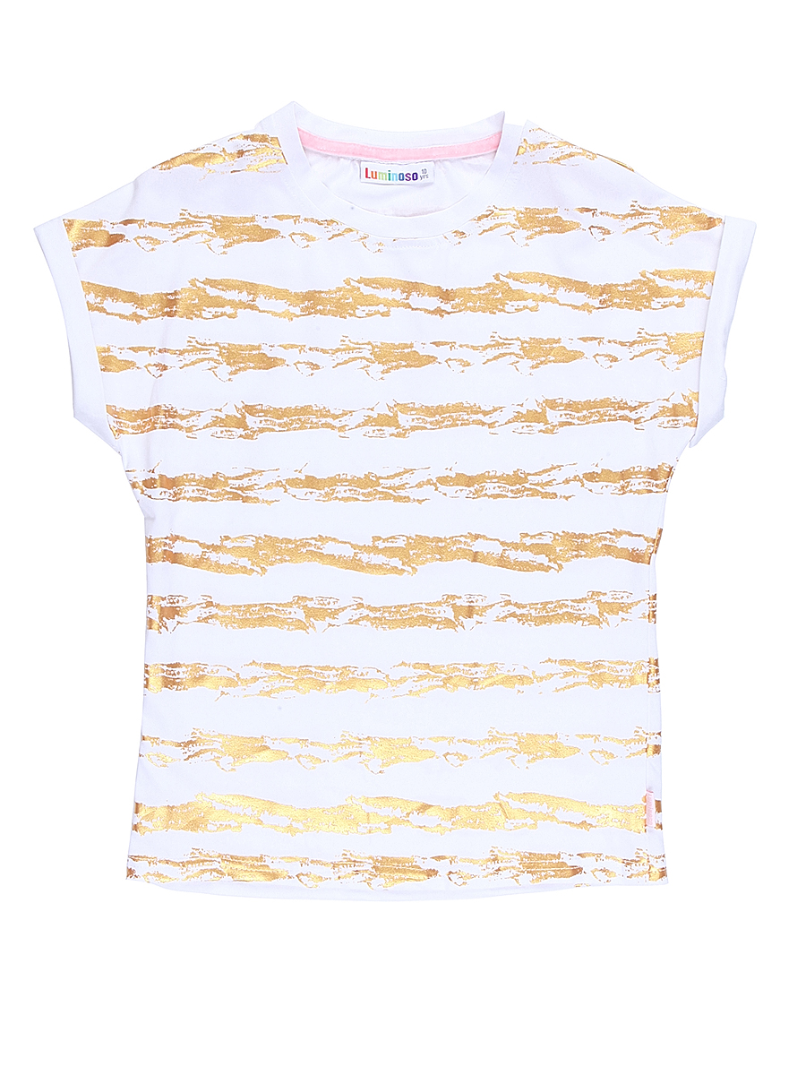 Футболка для девочки Luminoso, цвет: белый. 718076. Размер 134718076Стильная футболка из трикотажной ткани с коротким рукавом декорирована яркими золотыми полосами.