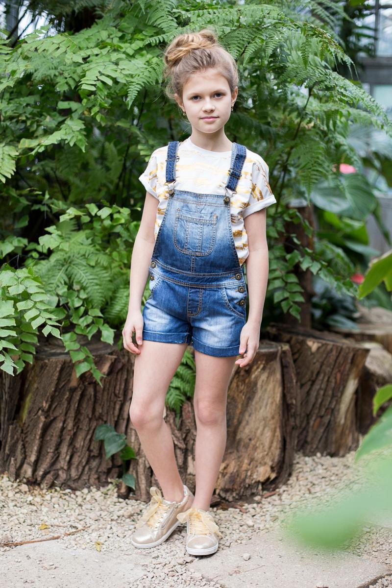 Полукомбинезон джинсовый для девочки Luminoso, цвет: синий. 718070. Размер 134 платье для девочки luminoso цвет синий белый 718102 размер 134