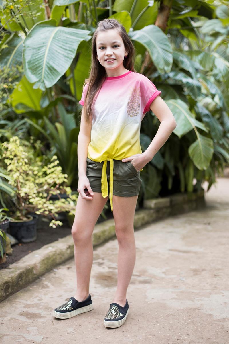 Футболка для девочки Luminoso, цвет: желтый, розовый. 718080. Размер 146718080Стильная футболка из трикотажной ткани с коротким рукавом и удлиненной спинкой. Декорирована мягким градиентным переходом цвета, яркой аппликацией.