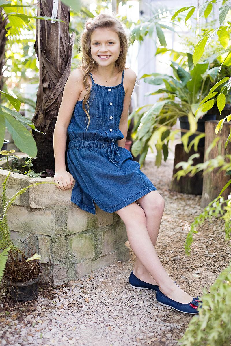 Сарафан для девочки Luminoso, цвет: синий. 718116. Размер 140718116Текстильный сарафан из тонкой хлопковой ткани под джинсу на регулируемых бретелях.