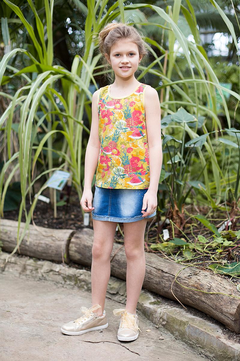 Юбка для девочки Luminoso, цвет: синий. 718164. Размер 158718164Джинсовая юбка оригинальной варки для девочки. Карманы декорированы стразами. Пояс с регулировкой внутренней резинкой.
