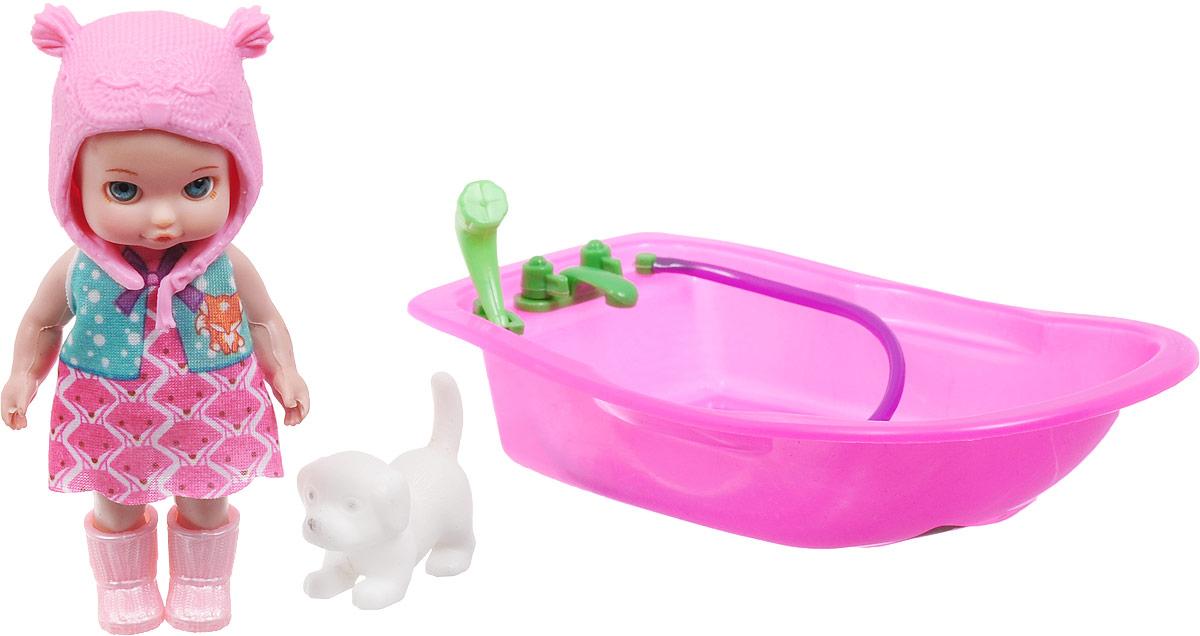 Veld-Co Пупс с ванночкой Изабелла цвет шапочки розовый veld co игровой набор с куклой торговый центр