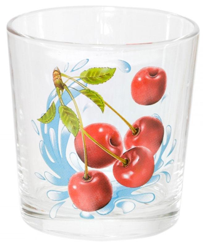 """Стакан OSZ """"Ода. Черешня"""" выполнен из высококачественного бесцветного стекла и украшен ярким рисунком. Идеально подходит для  сервировки стола.      Такой стакан не только украсит ваш кухонный стол, но и подчеркнет прекрасный вкус хозяйки.       Диаметр стакана (по верхнему краю): 8 см.    Диаметр основания: 6,5 см.    Высота стакана: 8,5 см."""