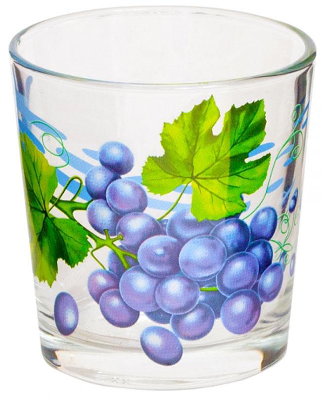 """Стакан OSZ """"Ода. Виноград"""" выполнен из высококачественного бесцветного стекла и украшен ярким рисунком. Идеально подходит для  сервировки стола.      Такой стакан не только украсит ваш кухонный стол, но и подчеркнет прекрасный вкус хозяйки.       Диаметр стакана (по верхнему краю): 8 см.    Диаметр основания: 6,5 см.    Высота стакана: 8,5 см."""