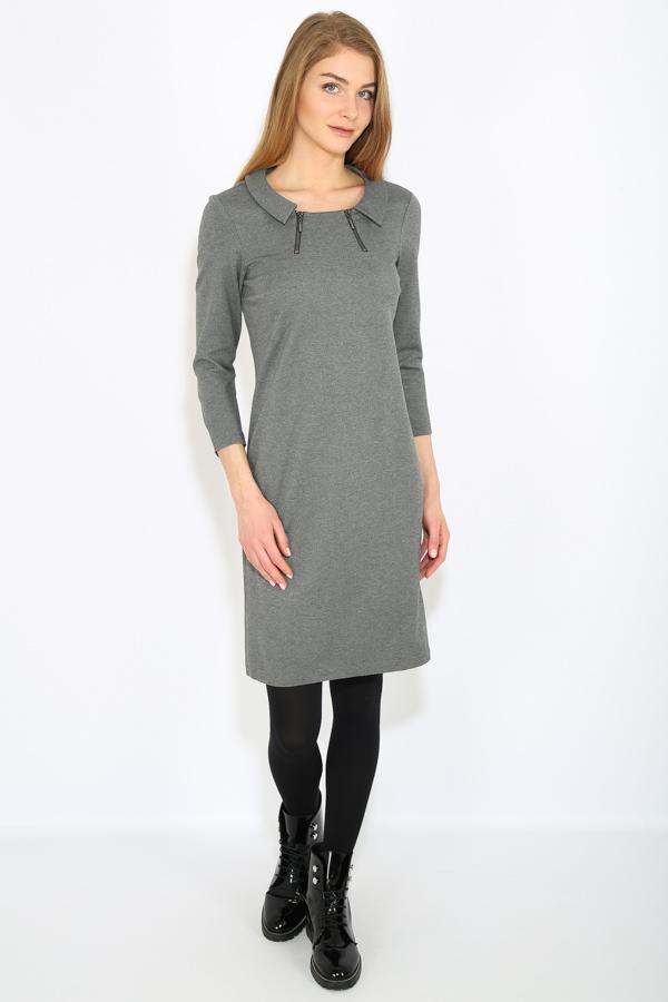 Платье Finn Flare, цвет: темно-серый. B17-12039_202. Размер S (44)B17-12039_202Платье Finn Flare вискозы, нейлона и эластана. Модель с круглым вырезом горловины и рукавами 3/4.