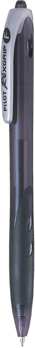 Pilot Ручка шариковая Rexgrip цвет чернил черный 0,7 ммBPRG-10R-F-BАвтоматическая шариковая ручка с интегрированным в корпус прорезиненным захватом для пальцев. Чернила на масляной основе для мягкого и легкого письма. Наконечник стержня изготовлен из нержавеющей стали, а шарик - из карбида вольфрама. Пластиковый корпус тонирован в цвет чернил ручки.