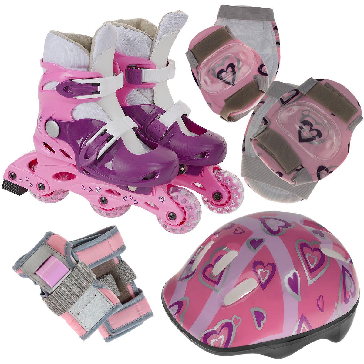 Набор Action: коньки роликовые, защита, шлем, цвет: розовый. PW-120P. Размер 31/34PW-120PРаздвижные коньки Action - это роликовые коньки любительского класса для детей и постоянно растущих подростков, предназначены для занятий спортом и активного отдыха.Коньки имеют пластиковый ботинок со съемным сапожком с раздвижным механизмом, что обеспечивает хорошую посадку и пластичность, а для еще более комфортного катания ботинки коньков оснащены двумя клипсами с фиксаторами. Облегченная, анатомически облегающая конструкция обеспечивает улучшенную боковую поддержку и полный контроль над движением.Рама изготовлена из пластика, а колеса из полиуретана с 608Z. Диаметр колес 64 мм. В каждой модели роликов есть тормоз. К роликам прилагается полный комплект защиты: шлем (из плотного пенопласта с верхним покрытием из пластика), защита рук, коленей, локтей. Двухкомпонентная система с внутренними вставками поглощает энергию удара, снимает нагрузку с суставов и снижает риск получения травм. Все это упаковано в специальную сумку-переноску с прозрачными окном. Роликовые коньки - это прекрасная возможность активного время провождения, отличный способ снять напряжение после трудового дня, пообщаться с друзьями, завести новые знакомства и повысить свою самооценку. При выборе роликовых коньков следует заботиться не о цвете, внешнем виде или фирме-производителе, а о том, чтобы вам и вашему ребенку было удобно и комфортно в выбранной модели, и чтобы нога надежно и плотно фиксировалась в коньке, но в то же время ее ничто не стягивало. Нельзя покупать ролики на пять размеров больше, но и нельзя покупать размер в размер. Ролики должны быть на один, максимум два размера больше ноги. УВАЖАЕМЫЕ КЛИЕНТЫ!Обращаем ваше внимание на различие в количестве колес в зависимости от размеров роликов: ролики размером 31/34 поставляются с 3 колесами, размером 35/38 - с 4.