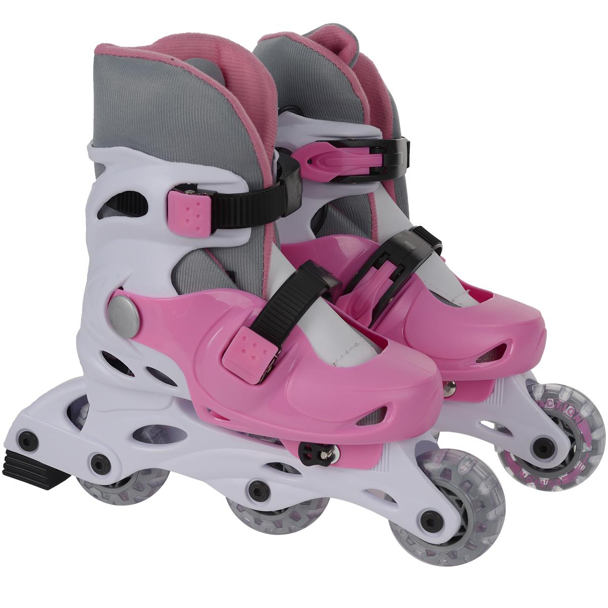 Коньки роликовые Action PW-120, раздвижные, цвет: белый, розовый. Размер 31/34PW-120_1Раздвижные коньки Action PW-120 - это роликовые коньки любительского класса для детей и постоянно растущих подростков, предназначены для занятий спортом и активного отдыха. Коньки имеют пластиковый ботинок с раздвижным механизмом, что обеспечивает хорошую посадку и пластичность, а для еще более комфортного катания ботинки коньков оснащены двумя клипсами с фиксаторами. Облегченная, анатомически облегающая конструкция обеспечивает улучшенную боковую поддержку и полный контроль над движением.Модель снабжена системой Parallel Wheels: возможность переставлять задние колеса в два ряда для большей устойчивости. Второе колесо с конца можно снять и разместить на оси параллельно с последним колесом. Для перестановки колес в комплект входит необходимый набор осей и ключ-шестигранник.Диаметр колес 64 мм.Жесткость колеса: 82А. Тип фиксации: две клипсы с фиксаторами. Максимальный вес пользователя: 40 кг.В каждой модели роликов есть тормоз. УВАЖАЕМЫЕ КЛИЕНТЫ!Обращаем ваше внимание на различие в количестве колес в зависимости от размеров роликов: ролики размером 31/34 поставляются с 3 колесами (система Parallel Wheels), размером 35/38 - с 4.