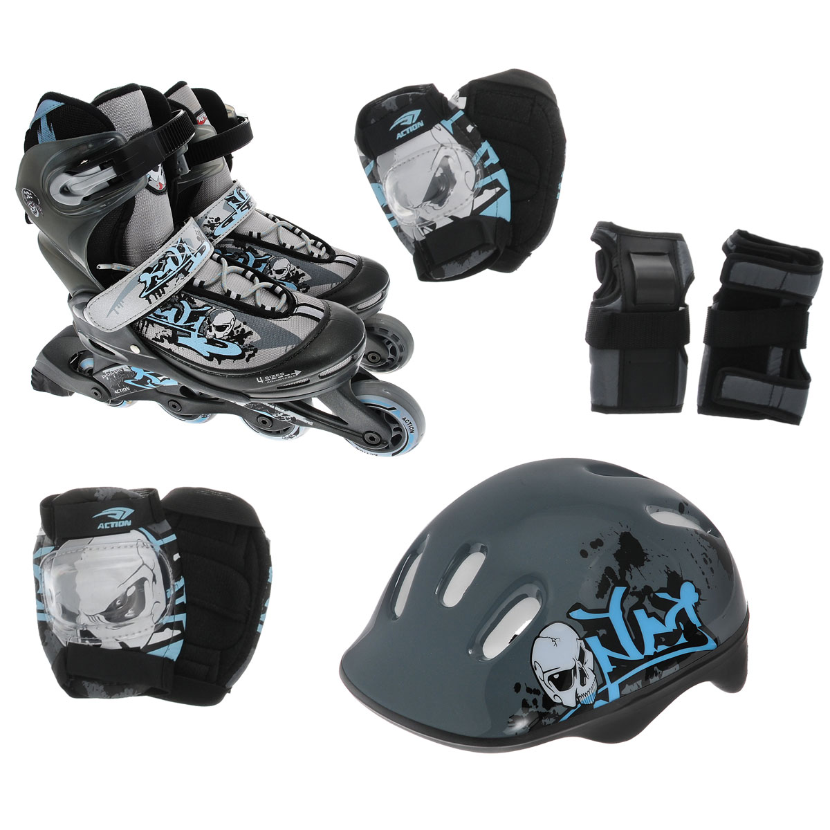 Набор Action: коньки роликовые, защита, шлем, цвет: серый, голубой. PW-117С. Размер 26/29PW-117СНабор для катания на роликах Action состоит из роликовых коньков, защиты (колени, локти, запястья) и шлема. Ботинок конька изготовлен из текстильного материла со вставкам из искусственной кожи, обеспечивающих максимальную вентиляцию ноги.Облегченная конструкция ботинка из пластика обеспечивает улучшенную боковую поддержку и полный контроль над движением. Изделие по верхудекорировано оригинальным принтом. Подкладка из мягкого текстиля комфортна при езде. Стелька изготовлена из ЭВА материала стекстильной верхней поверхностью. Классическая шнуровка с ремнем на липучке обеспечивает плотное закрепление пятки. На голенище модельфиксируется клипсой с фиксатором. Прочная рама из полипропилена отлично передает усилие ноги и позволяет быстро разгоняться.Колеса из ПВХ (64 мм) обеспечат плавное и бесшумное движение. Износостойкие подшипники класса ABEC-5 наименее восприимчивы кпопаданию влаги и песка. Задник оснащен широкой текстильной петлей, благодаря которой изделие удобно обувать. Верх шлема,оформленный ярким принтом, выполнен из поливинилхлорида, внутренняя часть - из пенополистирола. Отверстияпредназначены для лучшей вентиляции. В комплект входят элементы защиты локтей, коленей и запястий. Основание выполнено из нейлона. Защитныенакладки у подлокотников и наколенников исполнены из поливинилхлорида, а защитные накладки для запястий - из искусственной кожи иполивинилхлорида. УВАЖАЕМЫЕ КЛИЕНТЫ!Обращаем ваше внимание на различие в количестве колес в зависимости от размеров роликов: ролики размером 26/29 поставляются с 3 колесами, размерами 30/33 и 34/37 - с 4.