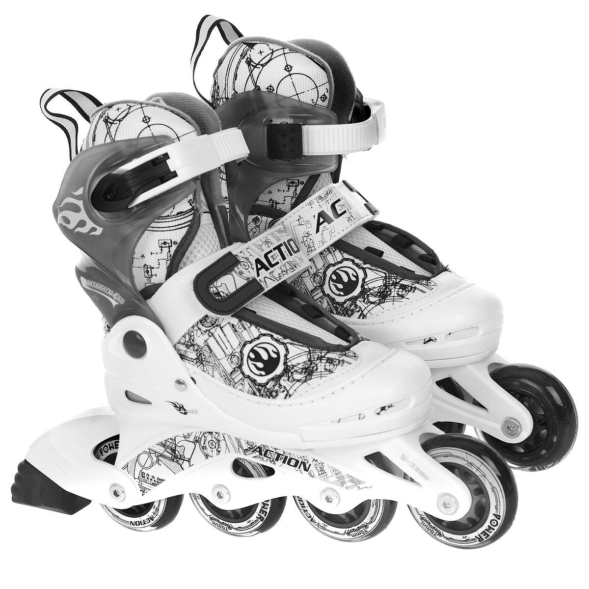Коньки роликовые Action PW-118, раздвижные, цвет: белый, серый. Размер 26/29PW-118Раздвижные роликовые коньки Action PW-118 предназначены для любительского катания. Коньки имеют мягкий ботинок с раздвижным механизмом, что обеспечивает хорошую посадку и пластичность, а для еще более комфортного катания ботинки коньков оснащены классической системой шнуровки, клипсой с фиксатором, ремешком на липучке и пяточным ремнем. Облегченная, анатомически облегающая конструкция обеспечивает улучшенную боковую поддержку и полный контроль над движением.Стельки роликов выполнены из двух материалов: базовый для обеспечения формы стельки; дополнительный - покрытие стельки мягким материалом для удобного одевания и комфорта. Рама изготовлена из пластика, а колеса из полиуретана с карбоновыми подшипниками ABEC5. В каждой модели роликов есть тормоз.Роликовые коньки - это прекрасная возможность активного время провождения, отличный способ снять напряжение после трудового дня, пообщаться с друзьями, завести новые знакомства и повысить свою самооценку. При выборе роликовых коньков следует заботиться не о цвете, внешнем виде или фирме-производителе, а о том, чтобы вам и вашему ребенку было удобно и комфортно в выбранной модели, и чтобы нога надежно и плотно фиксировалась в коньке, но в то же время ее ничто не стягивало. Нельзя покупать ролики на пять размеров больше, но и нельзя покупать размер в размер. Ролики должны быть на один, максимум два размера больше ноги. УВАЖАЕМЫЕ КЛИЕНТЫ!Обращаем ваше внимание на различие в количестве колес в зависимости от размеров роликов: ролики размером 26/29 поставляются с 3 колесами, ролики остальных размеров - с 4.