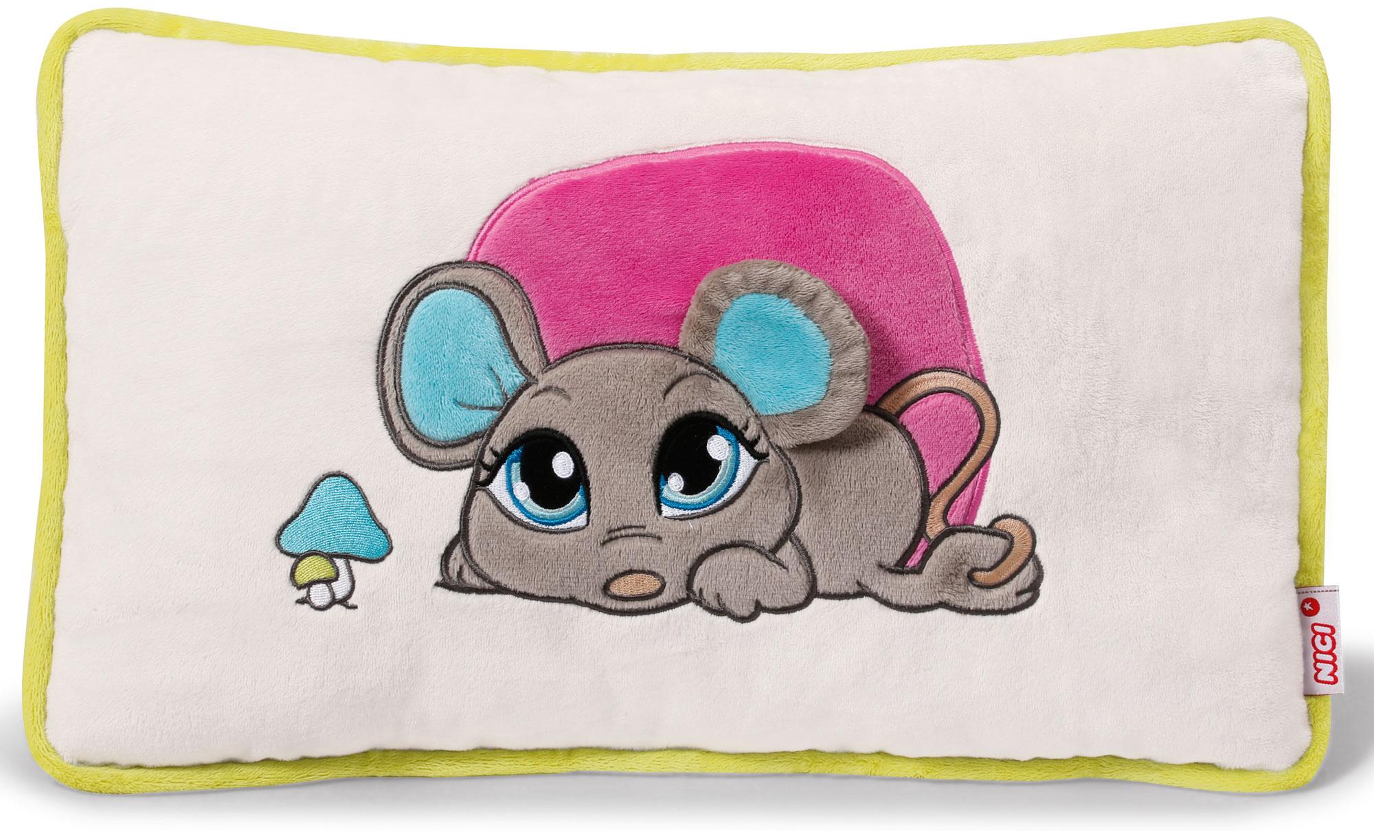 Nici Подушка Мышка серая 43 х 25 см37777Мягкая подушка Nici Мышка серая не оставит равнодушным вашего ребенка.Мягкая и приятная на ощупь подушка прямоугольной формы выполнена из полиэстера с мягкой набивкой и оформлена вышитой аппликацией в виде симпатичной серой мышки. Подушка удивительно приятна на ощупь. Необычайно мягкая, она принесет радость и подарит своему обладателю мгновения нежных объятий и приятных воспоминаний.Такая подушка станет отличным аксессуаром для детской комнаты.