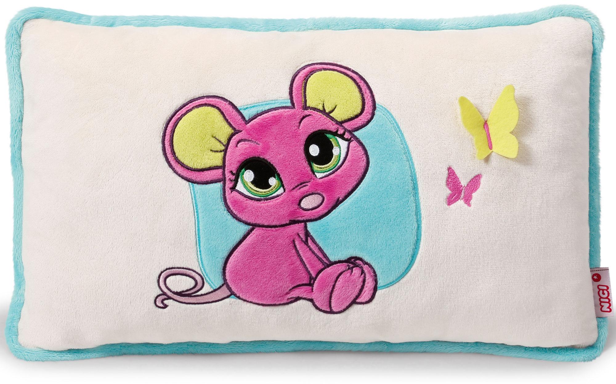 Nici Подушка Мышка розовая 43 х 25 см37778Мягкая подушка Nici Мышка розовая не оставит равнодушным вашего ребенка.Мягкая и приятная на ощупь подушка прямоугольной формы выполнена из полиэстера с мягкой набивкой и оформлена вышитой аппликацией в виде симпатичной розовой мышки. Подушка удивительно приятна на ощупь. Необычайно мягкая, она принесет радость и подарит своему обладателю мгновения нежных объятий и приятных воспоминаний.Такая подушка станет отличным аксессуаром для детской комнаты.