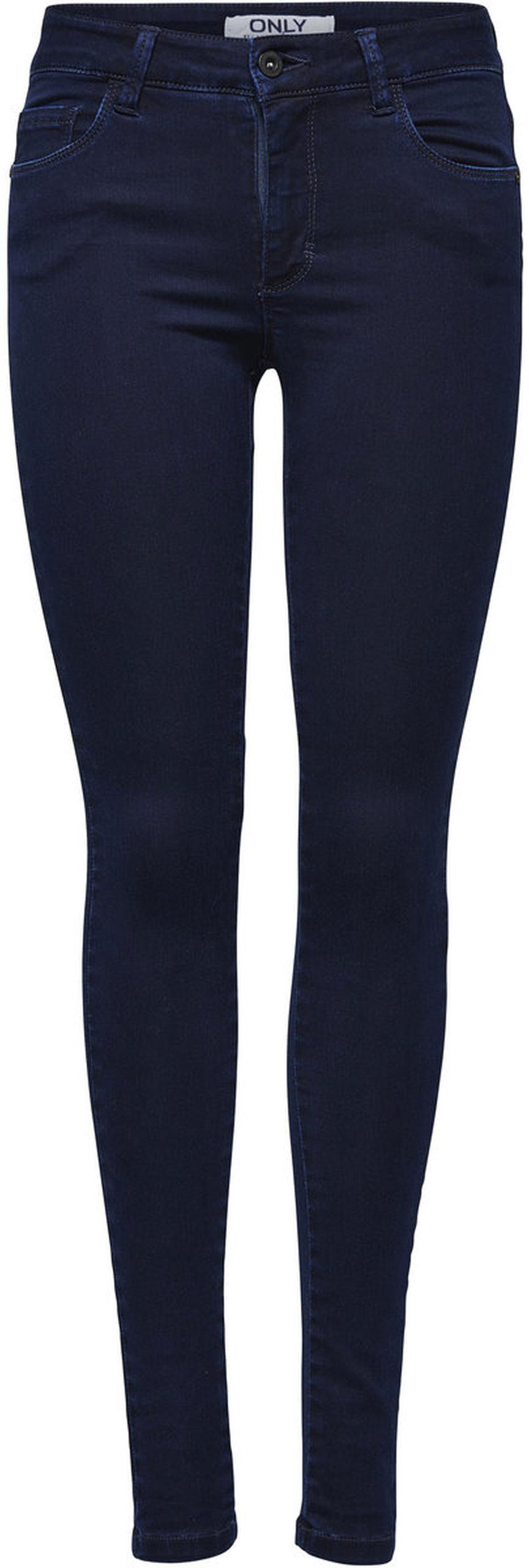 Джинсы женские Only, цвет: темно-синий. 15092651_Dark Blue Denim. Размер L-30 (48-30)15092651_Dark Blue DenimСтильные женские джинсы Only выполнены из хлопка с добавлением полиэстера и эластана. Материал мягкий и приятный на ощупь, не сковывает движения и дарит комфорт. Джинсы-скинни с заниженной посадкой застегиваются на пуговицу в поясе и ширинку на застежке-молнии. На поясе предусмотрены шлевки для ремня. Спереди модель дополнена двумя втачными карманами и одним накладным кармашком, сзади - двумя накладными карманами. Модель оформлена контрастной прострочкой.