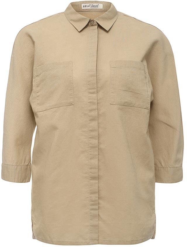 Рубашка женская Sela, цвет: бежевый. B-112/225-7244. Размер 46B-112/225-7244Стильная женская рубашка Sela выполнена из хлопка и льна. Модель прямого кроя с отложным воротничком застегивается на пуговицы, скрытые планкой, и дополнена двумя накладными карманами. Манжеты рукавов длиной 3/4 также дополнены пуговицами. Рубашка подойдет для прогулок и дружеских встреч и будет отлично сочетаться с джинсами и брюками, и гармонично смотреться с юбками. Мягкая ткань комфортна и приятна на ощупь.