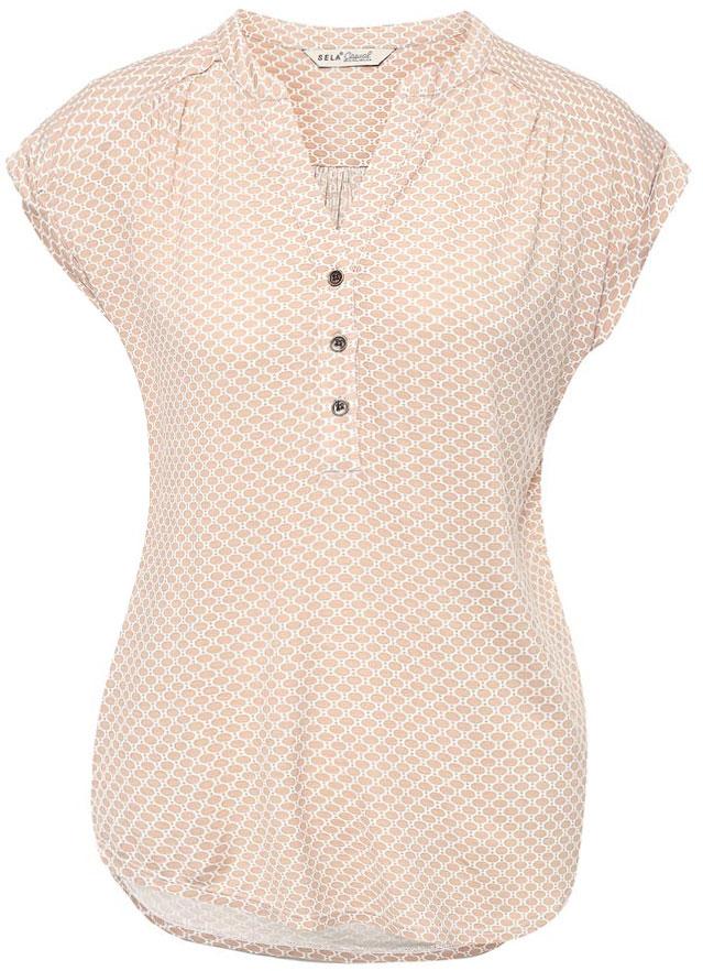 Футболка женская Sela, цвет: бежевый. TsBK-111/264-7152. Размер M (46)TsBK-111/264-7152Оригинальная женская футболка Sela выполнена из легкого материала. Модель прямого кроя с цельнокроеными рукавами подойдет для прогулок и дружеских встреч, будет отлично сочетаться с джинсами и брюками, а также гармонично смотреться с юбками. Фигурный V-образный вырез горловины застегивается на три пуговицы. Мягкая ткань на основе вискозы и эластана комфортна и приятна на ощупь.