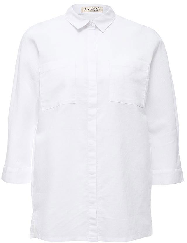 Рубашка женская Sela, цвет: белый. B-112/225-7244. Размер 48B-112/225-7244Стильная женская рубашка Sela выполнена из хлопка и льна. Модель прямого кроя с отложным воротничком застегивается на пуговицы, скрытые планкой, и дополнена двумя накладными карманами. Манжеты рукавов длиной 3/4 также дополнены пуговицами. Рубашка подойдет для прогулок и дружеских встреч и будет отлично сочетаться с джинсами и брюками, и гармонично смотреться с юбками. Мягкая ткань комфортна и приятна на ощупь.