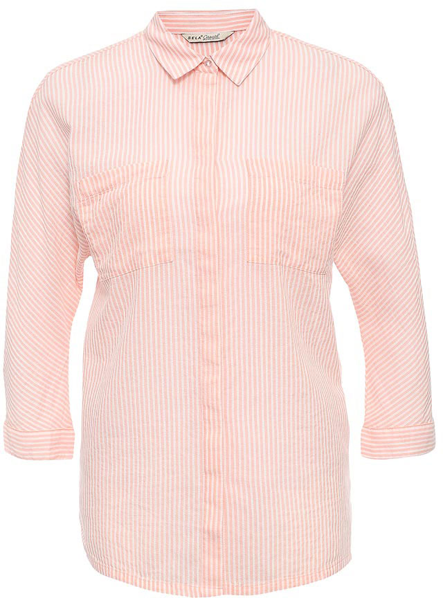 Рубашка женская Sela, цвет: бледно-оранжевый. B-112/1265-7263. Размер 50B-112/1265-7263Стильная женская рубашка Sela выполнена из натурального хлопка и оформлена принтом в полоску. Модель прямого кроя с удлиненной спинкой и отложным воротничком застегивается на пуговицы, скрытые планкой, и дополнена двумя накладными карманами. Манжеты рукавов длиной 3/4 также дополнены пуговицами. Рубашка подойдет для офиса, прогулок и дружеских встреч и будет отлично сочетаться с джинсами и брюками, и гармонично смотреться с юбками. Мягкая ткань комфортна и приятна на ощупь.
