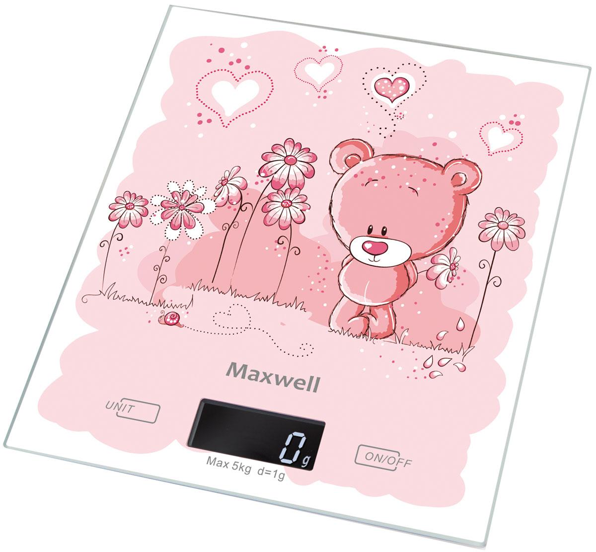 Maxwell MW-1477(PK) весы кухонныеMW-1477(PK)Кухонные электронные весы Maxwell MW-1477(PK) - незаменимый помощник современной хозяйки. Они помогут точно взвесить любые продукты и ингредиенты. Кроме того, позволят людям, соблюдающим диету, контролировать количество съедаемой пищи и размеры порций. Предназначены для взвешивания продуктов с точностью измерения 1 грамм.Размер весов: 20 см х 18 смРазмер дисплея: 4,58 см х 1,7 см