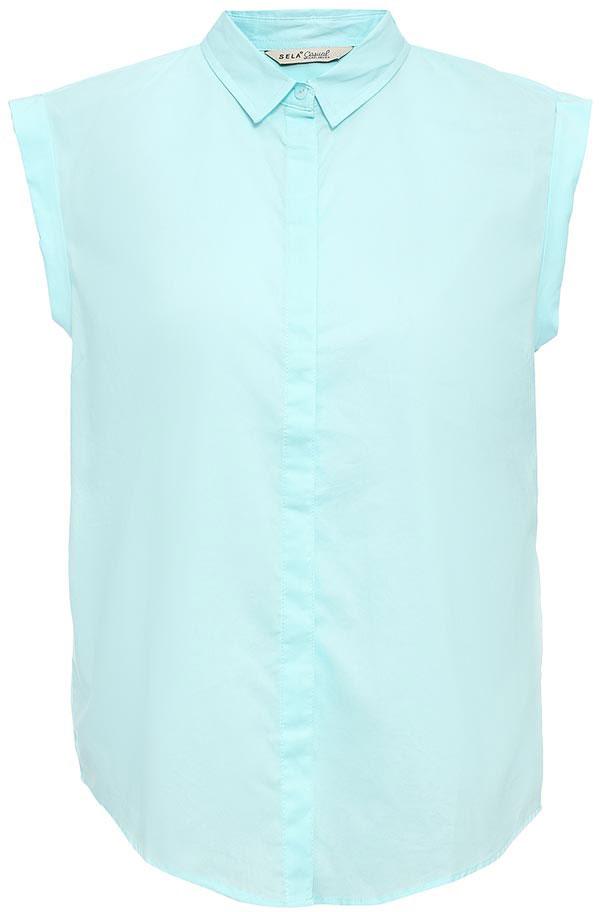 Блузка женская Sela, цвет: светло-ментоловый. Bs-112/1262-7263. Размер 44Bs-112/1262-7263Оригинальная женская блузка Sela выполнена из натурального хлопка. Модель прямого кроя с отложным воротничком и короткими цельнокроеными рукавами застегивается на пуговицы, скрытые планкой. Блузка подойдет для офиса, прогулок и дружеских встреч и будет отлично сочетаться с джинсами и брюками, и гармонично смотреться с юбками. Мягкая ткань комфортна и приятна на ощупь.