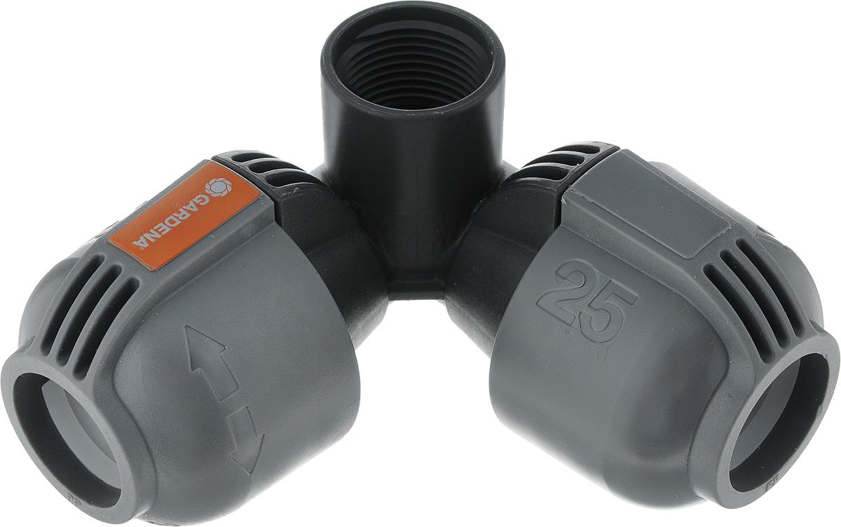 Cоединитель угловой Gardena, 25 мм х 3/4, внутренняя резьба. 02764-20.000.0002764-20.000.00Соединитель L-образного типа марки Gardena предназначен для оперативного и прочного соединения дождевателей с общим магистральным шлангом в 25 мм. За счет технологии Quick & Easy гарантируется быстрая установка и отсутствие использования дополнительных приспособлений. Для монтажа фитинг просто поворачивается на 140 градусов. Соединитель оснащен наружной резьбой в 3/4.