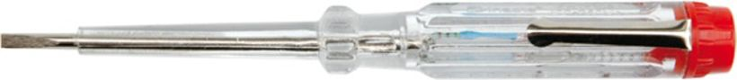 Отвертка индикаторная Vorel, длина 14 см65233Отвертка индикаторная оснащена изолированным стальным жалом. Прозрачная рукоятка выполнена из пластика, внутрь нее помещен индикатор, позволяющий определить наличие или отсутствие напряжения в ремонтируемых предметах.- рабочая длина: 14 см;- диапазон напряжения: 230 V.