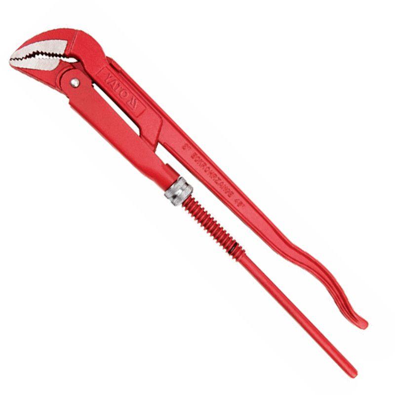 Ключ трубный Yato CrV, шведский, 2, 45 градусовYT-2215Ключ трубный Yato CrV изготовлен из инструментальной стали CrV и используется для монтажа и демонтажа у трубных резьбовых соединений. Ключ эффективен в работе благодаря его специальной усиленной конструкции. Специально разработанный угол наклона зубцов позволяет выполнить максимально возможное усилие захвата.Наклон губок: 45°.Форма губок: L.Максимальный диаметр трубы (дюймы): 2.