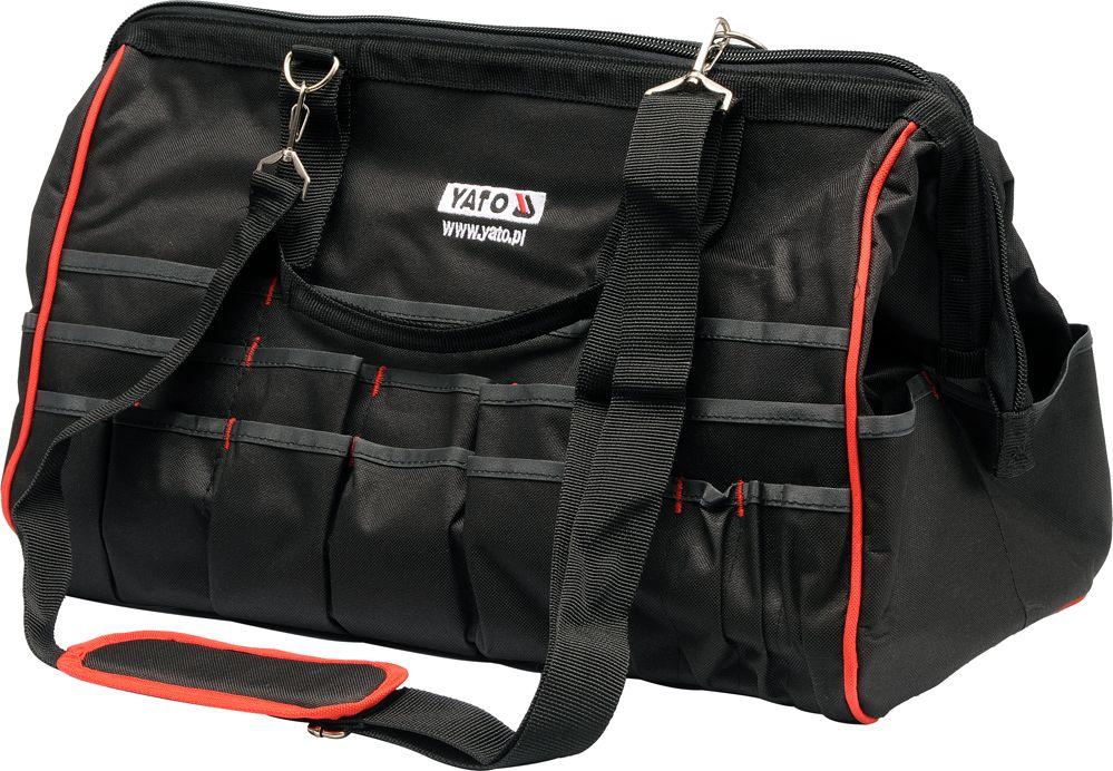 Сумка для инструментов Yato, цвет: черный, красный, 49 x 26 x 34 смYT-7430Сумка Yato специально разработана для хранения и транспортировки инструмента. Она изготовлена из прочного нейлона и имеет практически неограниченный срок службы, а также превосходно защищает инструменты даже при работе в полевых условиях. Внутри сумки имеются карманы для хранения и быстрого доступа к инструменту. На боковых стенках имеются карманы для ключей, плоскогубцев и других инструментов. Сумка снабжена прочной лямкой на плечо, ручками для переноски и закрывается на молнию. Сумка для инструментов Yato позволяет поддерживать чистоту на рабочем месте.