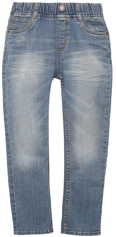 Джинсы для мальчика Sela Denim, цвет: голубой джинс. PJ-735/059-7213. Размер 104, 4 годаPJ-735/059-7213Стильные джинсы для мальчика Sela выполнены из качественного эластичного хлопка с эффектом потертостей. Джинсы зауженного кроя и стандартной посадки на талии имеют широкий пояс на мягкой резинке, дополненный шлевками для ремня. Изделие оформлено имитацией ширинки и декоративной пуговицей. Модель представляет собой классическую пятикарманку: два втачных и один маленький накладной кармашек спереди и два накладных кармана сзади