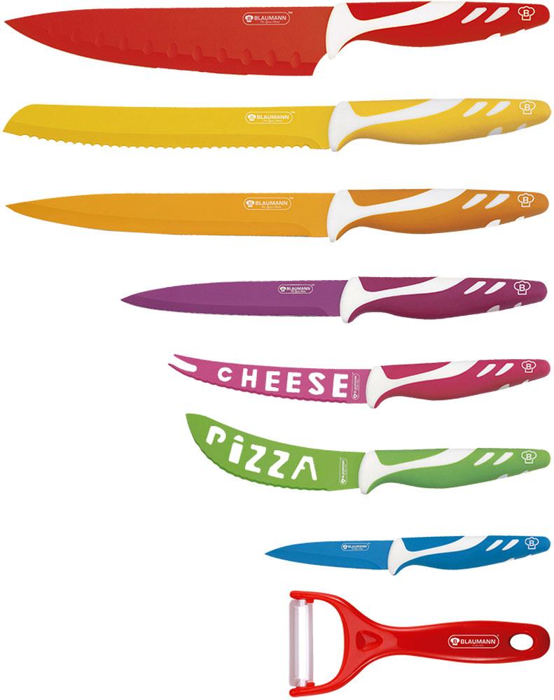 Набор кухонных ножей Blaumann, 8 предметов3001-ВL-KSНабор ножей 8 предметов нержавеющая сталь с полимерным антибактериальным покрытием. Нож шеф-повара 20 см, Нож для хлеба 19 см, Нож универсальный 19 см, Нож универсальный 12,7 см, Нож для сыра 12,7 см, Нож для пиццы 11,40 см, Нож для очистки овощей 9 см, Керамическая овощечистка, прорезиненная ручка Soft touch