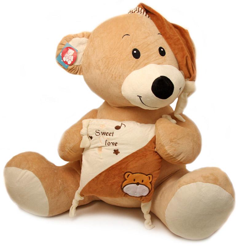 Magic Bear Toys Мягкая игрушка Медведь с подушкой цвет бежевый коричневый 80 см малышарики мягкая игрушка собака бассет хаунд 23 см