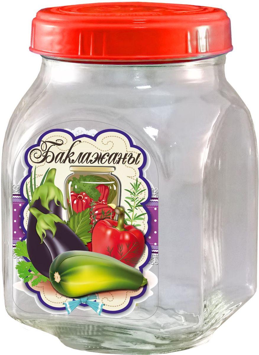 Банка для хранения Квестор Баклажаны, c крышкой, 800 мл626-035Банка из бесцветного стекла для консервированной пищевой продукции. В том числе для сыпучих пищевых продуктов.
