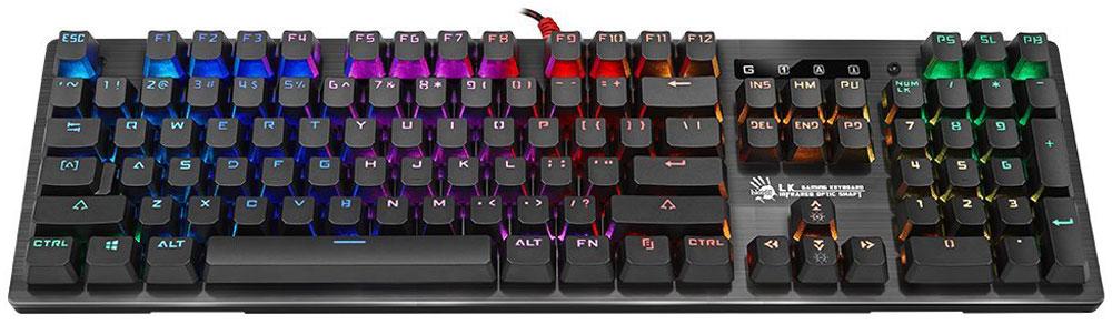 A4Tech Bloody B820R, Black игровая клавиатура4711421926997Клавиатура A4Tech Bloody B820R обладает уникальным дизайном и высоким качеством производства. Тщательный контроль исполнения деталей, удобство и эргономичность по праву поднимают клавиатуру на топовые позиции среди аналогичных устройств. Клавиатура A4Tech Bloody B820R предназначена для полного погружения в игровой процесс.Инновационная технология Light Strike использует оптические переключатели, обеспечивающие непревзойденное время отклика 0.2 мс! Оптический переключатель обладает высокой долговечностью, ультрапрочностью и износостойкостью, что делает его привлекательным для геймеров.Ход срабатывания - с расстояния 3 мм, что на 25% быстрее, чем у металлических переключателей (у обычных металлических переключателей ход срабатывания начинается с расстояния 4 мм). Реагирует на световых скоростях без задержек.Технология Long-lasting создает звук при печати, который не исчезнет через несколько месяцев активного использования.Срок службы - более 100 млн нажатий (обычные металлические переключатели легко изнашиваются и окисляются).Персональная настройка имеет 3 индивидуальных режима подсветки с поддержкой до 16.8 млн. цветовых вариантов. Сохраняйте свои любимые типы RGB-подсветки c помощью сочетания клавиш Fn + от 0 до 9. Вы можете поделиться созданными эффектами RGB-подсветки с друзьями.Эксклюзивное передовое нанопокрытие на печатной плате защищает от коррозии и едких химических веществ, продлевая клавиатуре жизнь.Дренажные каналы и отверстия устанавливаются в строго определенном положении, обеспечивая эффективное вытекание воды.Инновационная технология Full Anti-Ghost предлагает N-клавишное мультинажатие, позволяющее забыть о залипании любого количества клавиш для всех типов игр. Нажатие Fn+F8 деактивирует кнопки Windows для предотвращения случайного вылета из игровой сессии.Как выбрать игровую клавиатуру. Статья OZON Гид