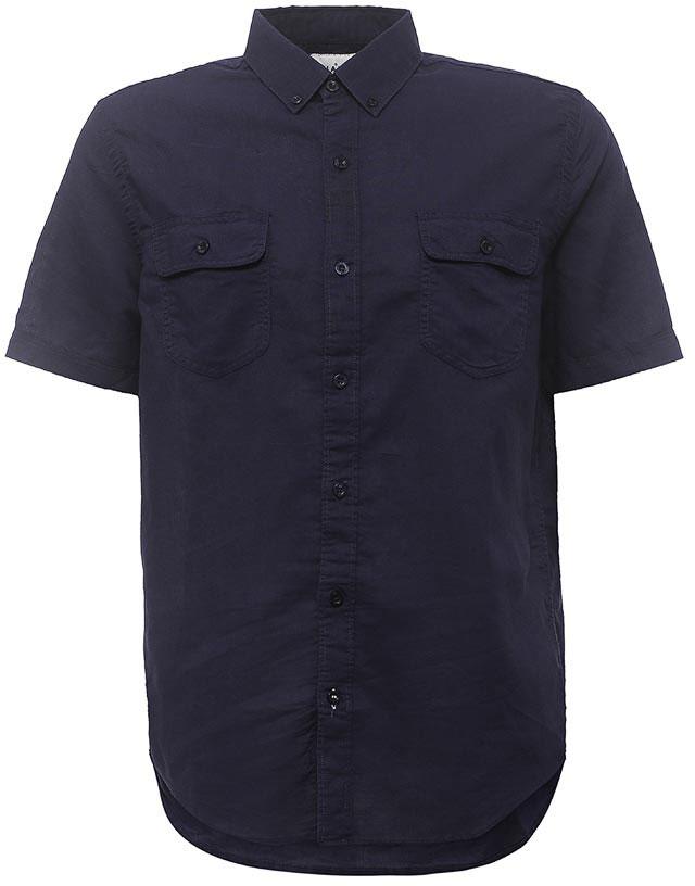 Рубашка мужская Sela, цвет: темно-синий. Hs-212/763-7213. Размер 43 (50)Hs-212/763-7213Стильная мужская рубашка Sela выполнена из хлопка с добавлением льна. Модель прямого кроя с короткими рукавами и отложным воротничком застегивается на пуговицы и дополнена двумя накладными карманами с клапанами на груди. Воротничок дополнен пуговицами.Универсальный цвет позволяет сочетать модель с любой одеждой.
