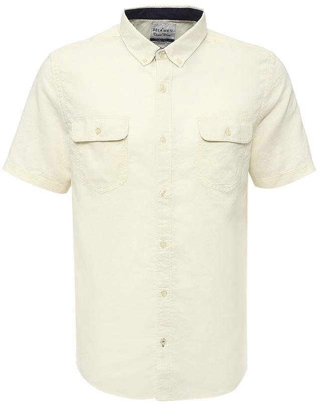 Рубашка мужская Sela, цвет: серовато-янтарный. Hs-212/763-7213. Размер 38 (42)Hs-212/763-7213Стильная мужская рубашка Sela выполнена из хлопка с добавлением льна. Модель прямого кроя с короткими рукавами и отложным воротничком застегивается на пуговицы и дополнена двумя накладными карманами с клапанами на груди. Воротничок дополнен пуговицами.Универсальный цвет позволяет сочетать модель с любой одеждой.