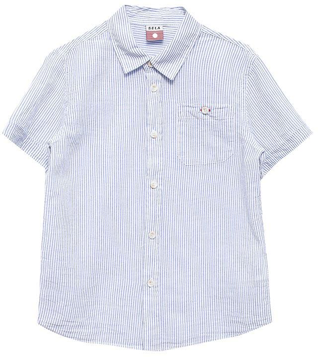 Рубашка для мальчика Sela, цвет: белый. Hs-712/450-7213. Размер 98, 3 годаHs-712/450-7213Стильная рубашка для мальчика Sela выполнена из натурального хлопка и оформлена принтом в тонкую полоску. Модель прямого кроя с короткими рукавами и отложным воротничком застегивается на пуговицы и дополнена накладным карманом на пуговице на груди. Универсальный цвет позволяет сочетать модель с любой одеждой.