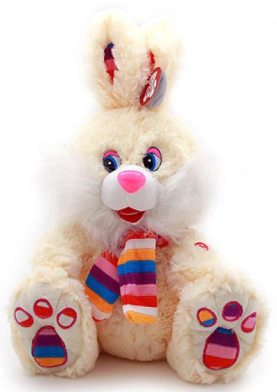 Magic Bear Toys Мягкая игрушка Заяц в ярком шарфе цвет светло-бежевый 50 см мягкая игрушка magic bear toys тигр 60 см