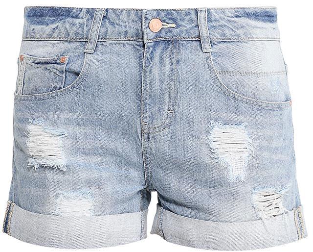Шорты женские Sela Denim, цвет: голубой джинс. SHJ-135/608-7213. Размер 26 (42)SHJ-135/608-7213Женские джинсовые шорты Sela, изготовленные из натурального хлопка с эффектом потертостей и разрывов, станут отличным дополнением гардероба в летний период. Короткие шорты прямого кроя и стандартной посадки на талии застегиваются на застежку-молнию и пуговицу. На поясе имеются шлевки для ремня. Модель с отворотами дополнена двумя втачными и накладным карманами спереди и двумя накладными карманами сзади.