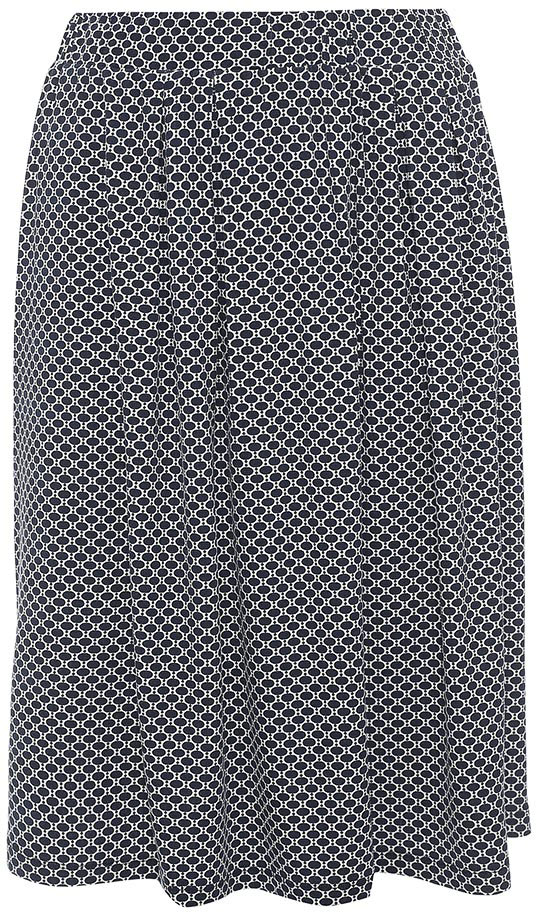 Юбка Sela, цвет: темно-синий. SKk-118/064-7254. Размер S (44)SKk-118/064-7254Стильная женская юбка Sela выполнена из легкого струящегося материала и оформлена контрастным принтом. Модель средней длины расклешенного кроя с поясом на мягкой резинке подойдет для офиса, прогулок и дружеских встреч и станет отличным дополнением гардероба. Мягкая ткань на основе вискозы и эластана комфортна и приятна на ощупь.