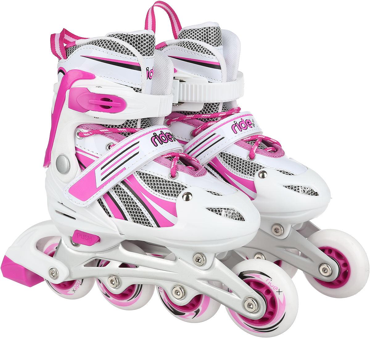 Коньки роликовые Ridex Sindy, раздвижные, цвет: белый, фуксия. УТ-00008106. Размер 38/41 - Ролики