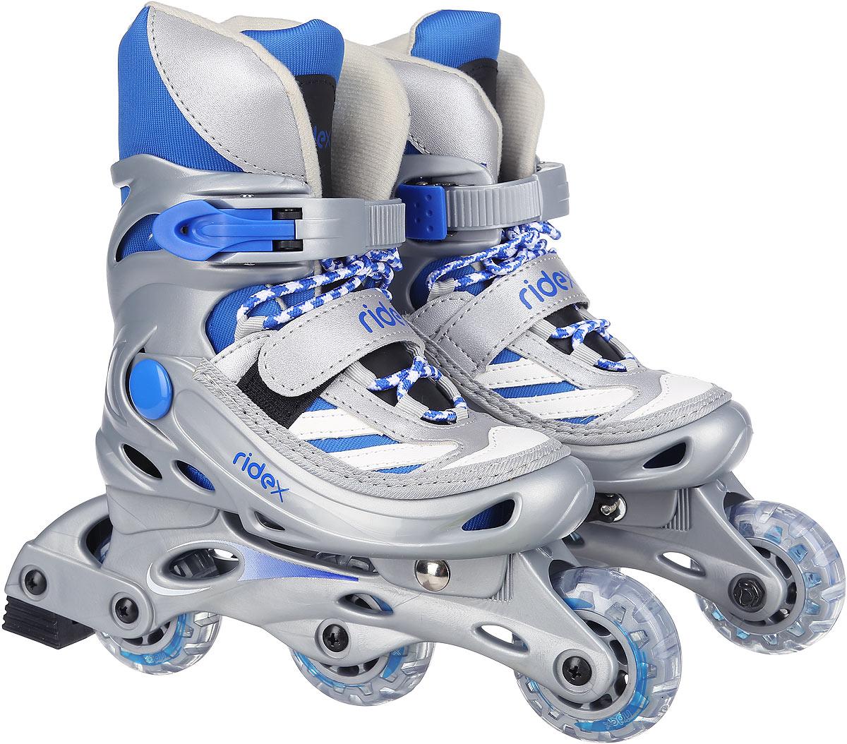 Коньки роликовые Ridex Scout, раздвижные, цвет: серый, голубой, белый. УТ-00008094. Размер 35/38