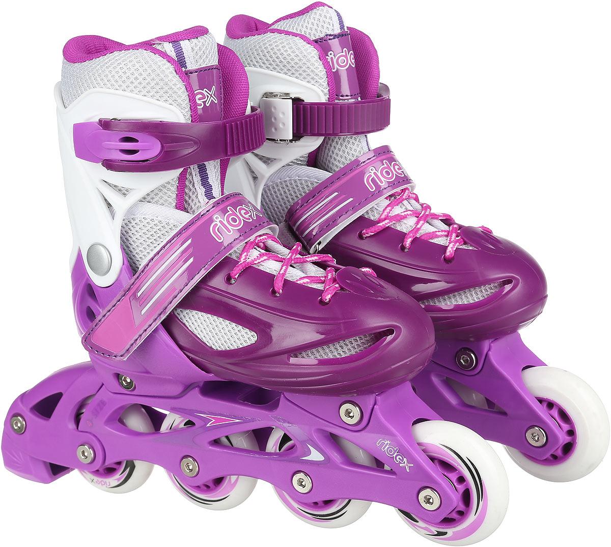 Коньки роликовые Ridex Sonny, раздвижные, цвет: фиолетовый, белый. УТ-00008099. Размер 30/33