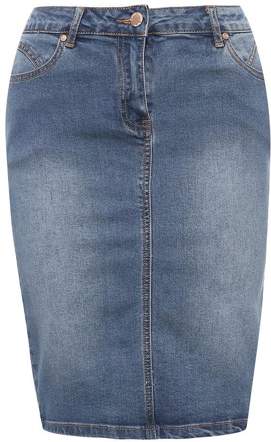 Юбка Sela, цвет: синий джинс. SKJ-138/802-7213. Размер 44SKJ-138/802-7213Стильная юбка-карандаш Sela выполнена из мягкого джинсового материала с эффектом потертостей. Модель средней длины застегивается на молнию с пуговицей и оформлена небольшим разрезом сзади. На поясе имеются шлевки для ремня. Изделие дополнено двумя втачными карманами спереди и двумя накладными карманами сзади. Юбка подойдет для офиса, прогулок и дружеских встреч и станет отличным дополнением гардероба.