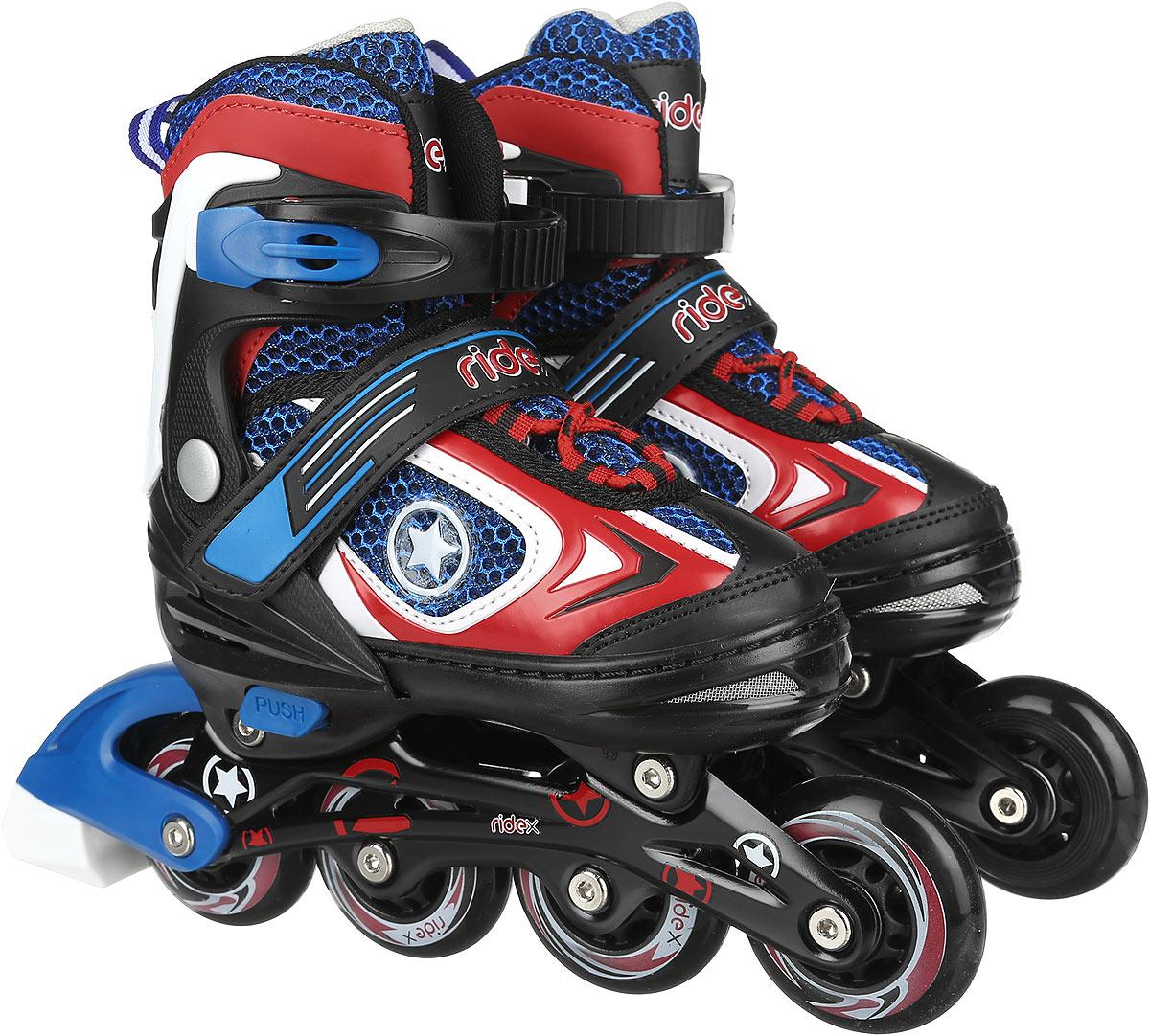 Коньки роликовые Ridex Defender, раздвижные, цвет: черный, синий, красный. УТ-00008107. Размер 30/33